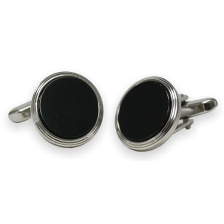manschettenkn pfe onyx schwarz runde form herren. Black Bedroom Furniture Sets. Home Design Ideas